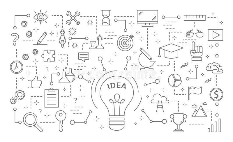 Geplaatste ideepictogrammen vector illustratie