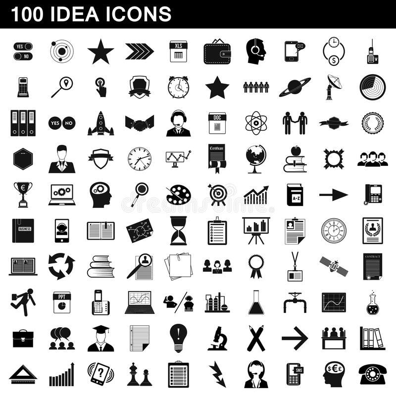 100 geplaatste ideepictogrammen, eenvoudige stijl royalty-vrije illustratie