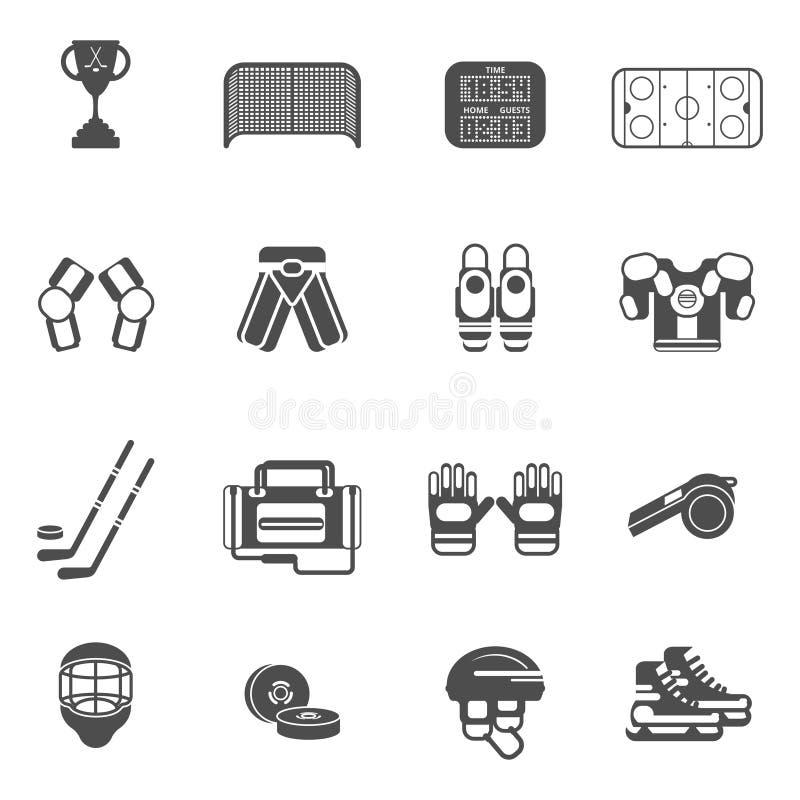 Geplaatste ijshockeypictogrammen vector illustratie