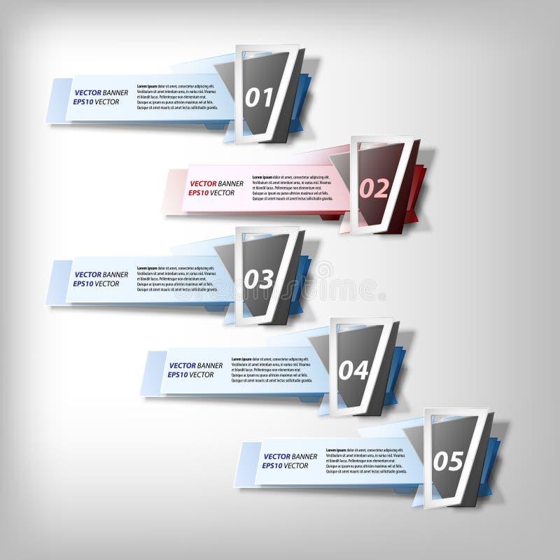 Geplaatste Infographicbanners, origami gestileerde vector royalty-vrije illustratie