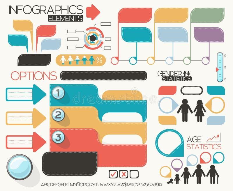 Geplaatste Infographicelementen royalty-vrije illustratie