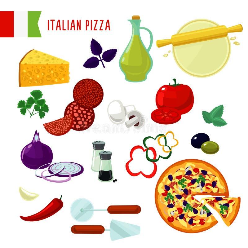 Geplaatste Ingrediënten van de beeldverhaal de Italiaanse Pizza vector illustratie
