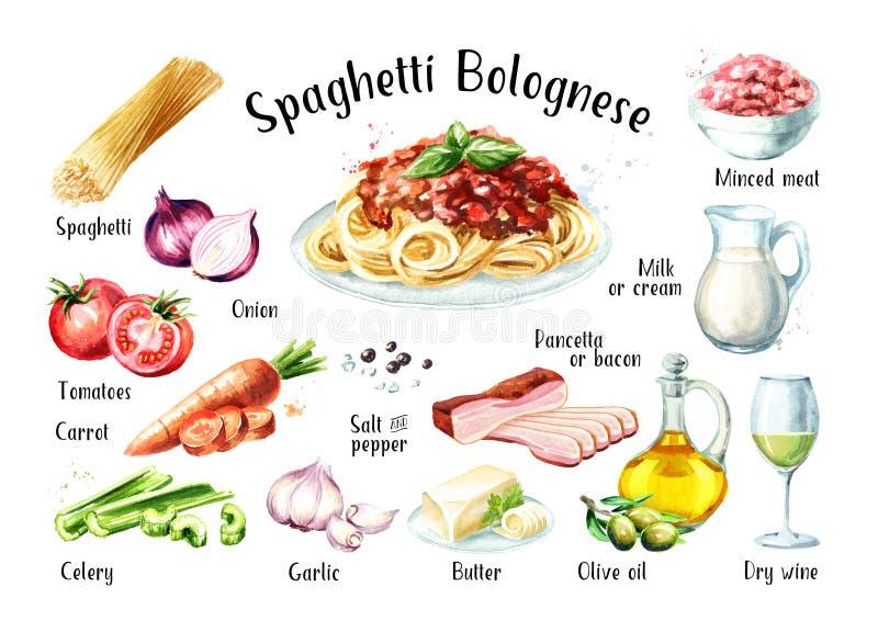 Geplaatste ingrediënten van het spaghetti Bolognese recept Waterverfhand getrokken die illustratie op witte achtergrond wordt geï stock illustratie