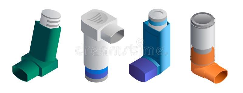 Geplaatste inhaleertoestelpictogrammen, isometrische stijl stock illustratie