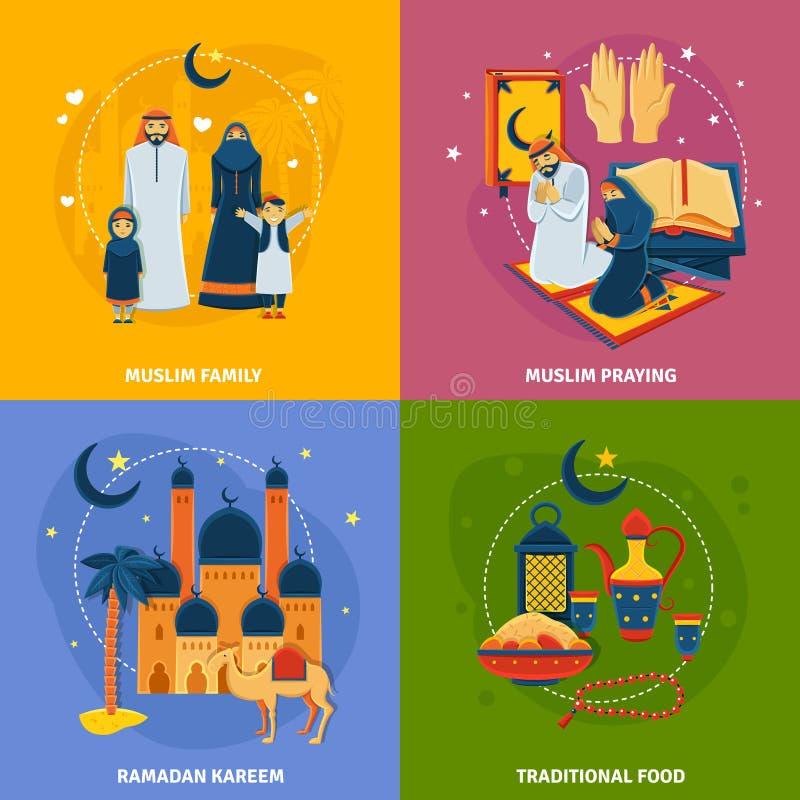 Geplaatste islampictogrammen vector illustratie
