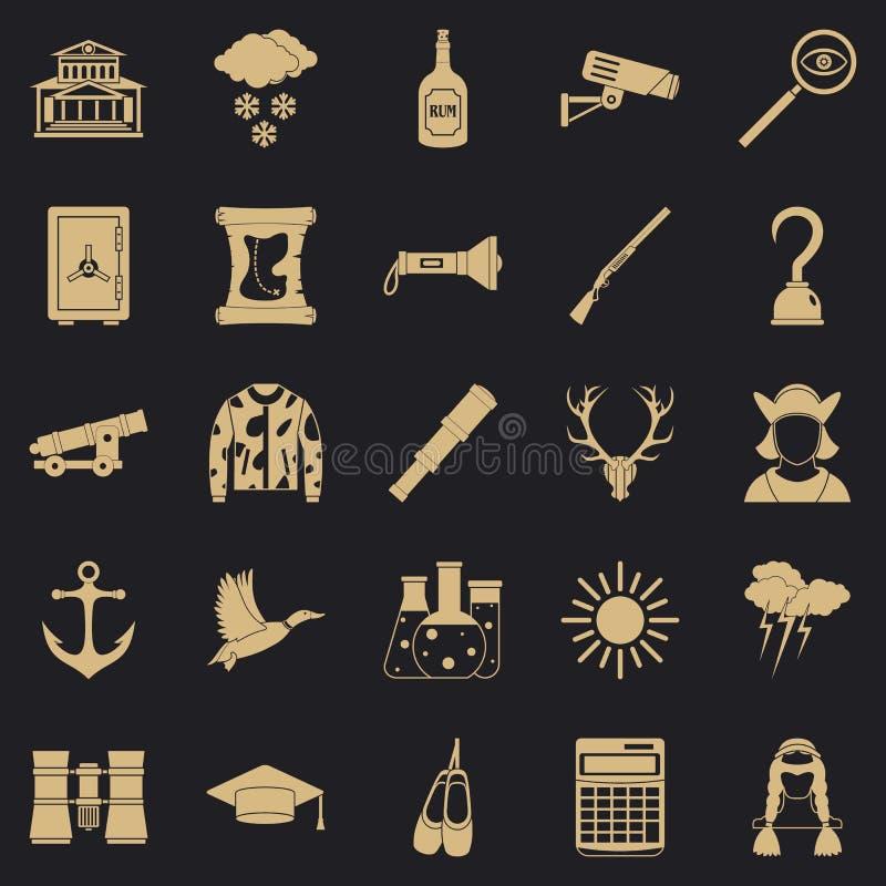 Geplaatste jachtpictogrammen, eenvoudige stijl royalty-vrije illustratie