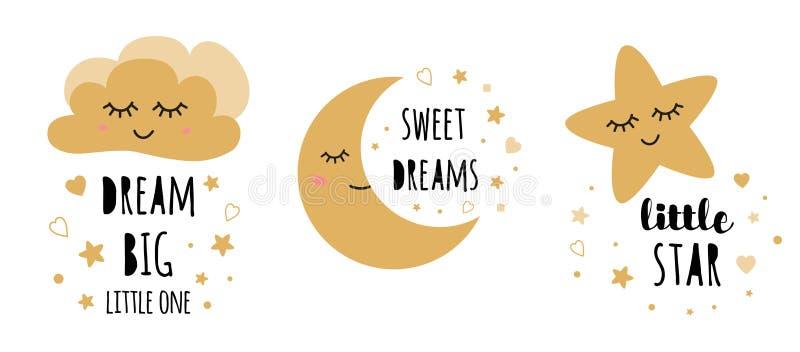 Geplaatste jonge geitjesaffiches Kinderachtige van de de ruimtedecoratie van de typografiedruk de Droom grote Zwarte gouden Vecto royalty-vrije illustratie