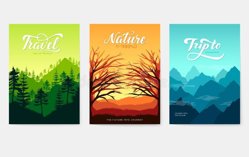 Geplaatste kaarten van de aard de vectorbrochure Ecologiemalplaatje van vlieger, tijdschriften, affiche, boekdekking, banners Ope stock illustratie