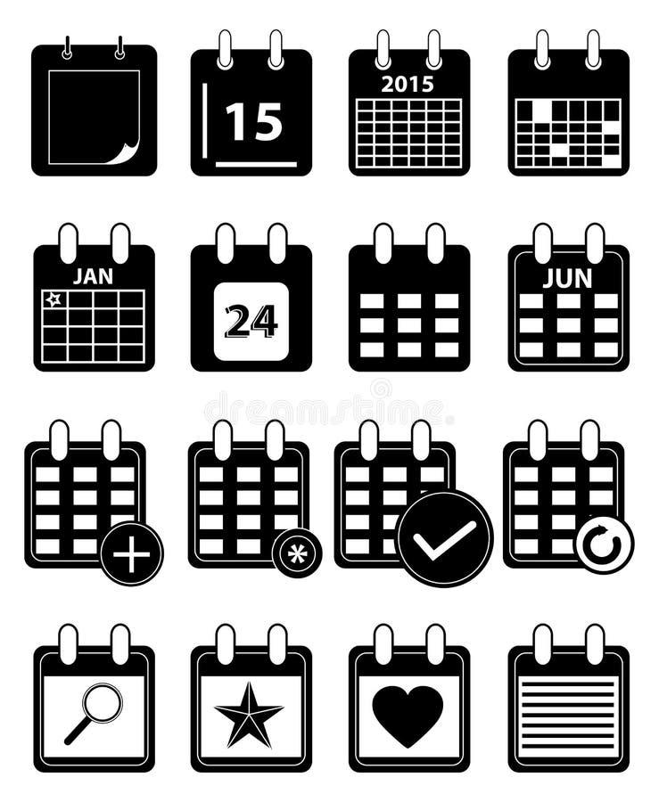 Geplaatste kalenderpictogrammen stock illustratie