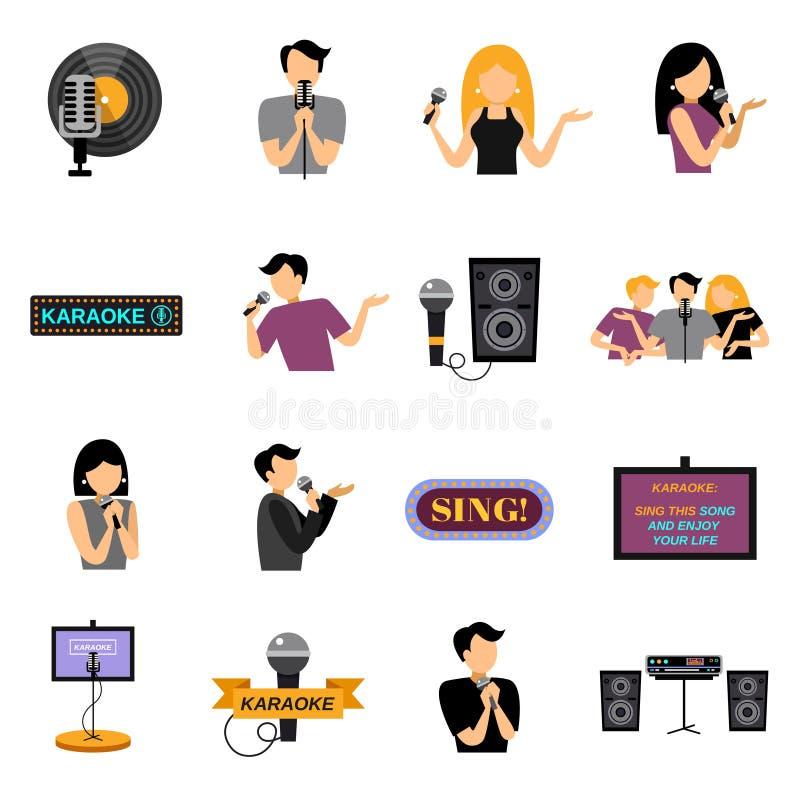 Geplaatste karaoke Vlakke Pictogrammen stock illustratie