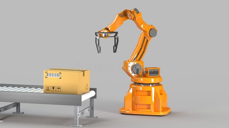Geplaatste kartondozen en speciale vervoersrobot en hydraulische machine met mechanisch wapen die voor geïsoleerde verpakking geb royalty-vrije illustratie