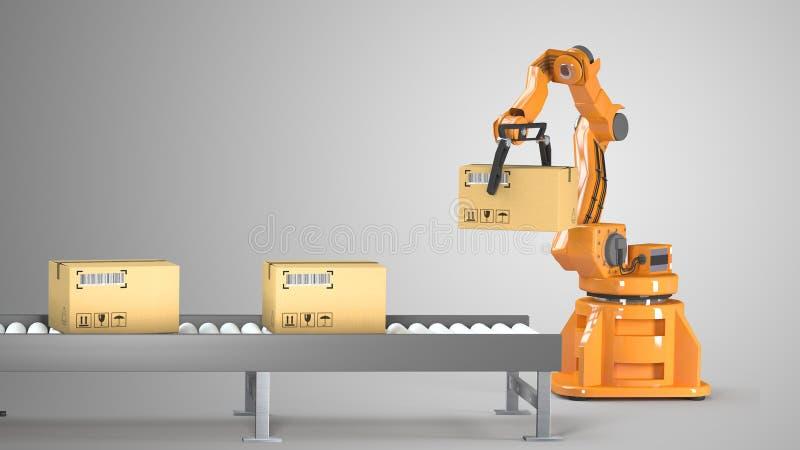 Geplaatste kartondozen en speciale vervoersrobot en hydraulische machine met mechanisch wapen die voor geïsoleerde verpakking geb vector illustratie