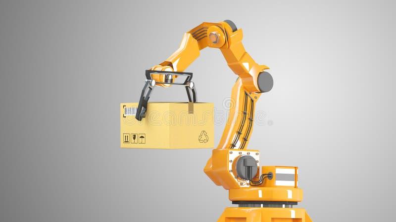 Geplaatste kartondozen en speciale vervoersrobot en hydraulische machine met mechanisch wapen die voor geïsoleerde verpakking geb stock illustratie