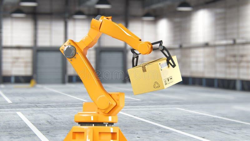 Geplaatste kartondozen en speciale vervoersrobot en hydraulische machine met mechanisch wapen die voor geïsoleerde verpakking geb stock fotografie