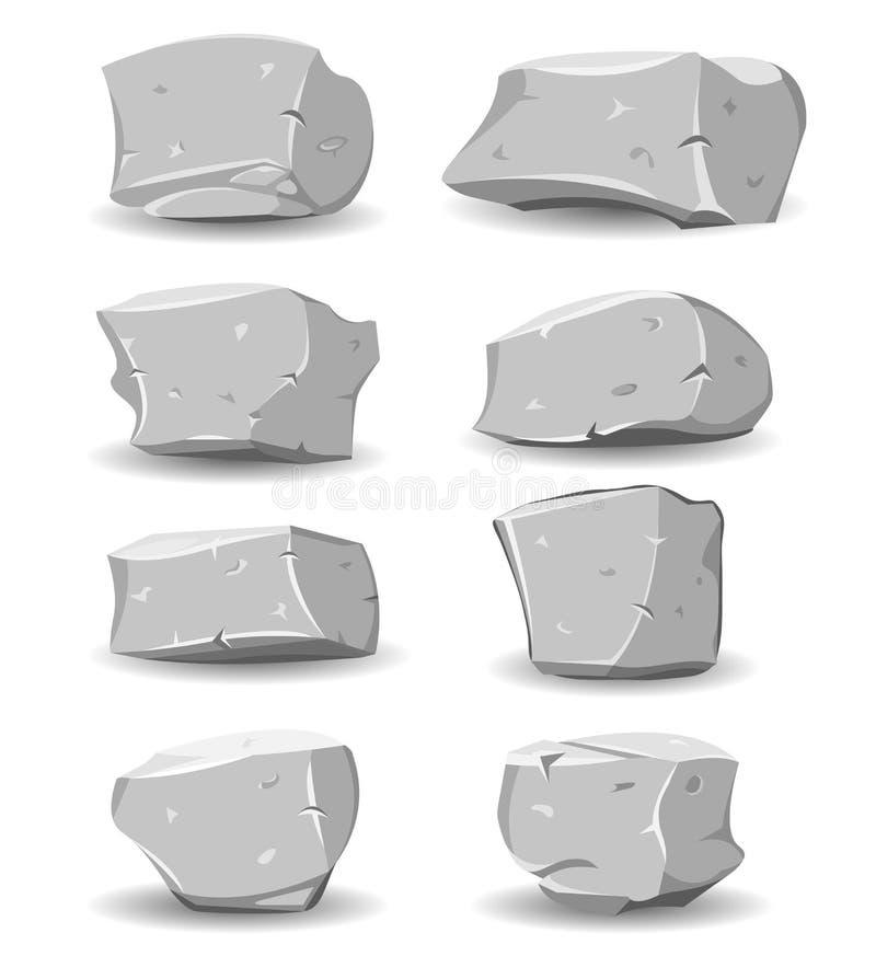 Geplaatste keien en Rotsen stock illustratie