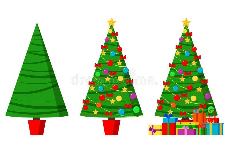 Geplaatste Kerstmis de groeten isoleerden decoratieve de wintervoorwerpen royalty-vrije illustratie