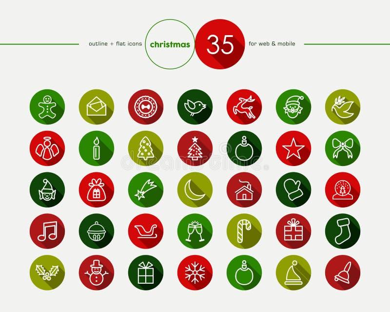 Geplaatste Kerstmis Vlakke Pictogrammen stock illustratie