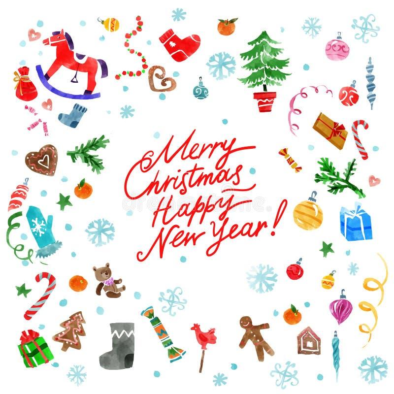 Geplaatste Kerstmisdecoratie royalty-vrije illustratie