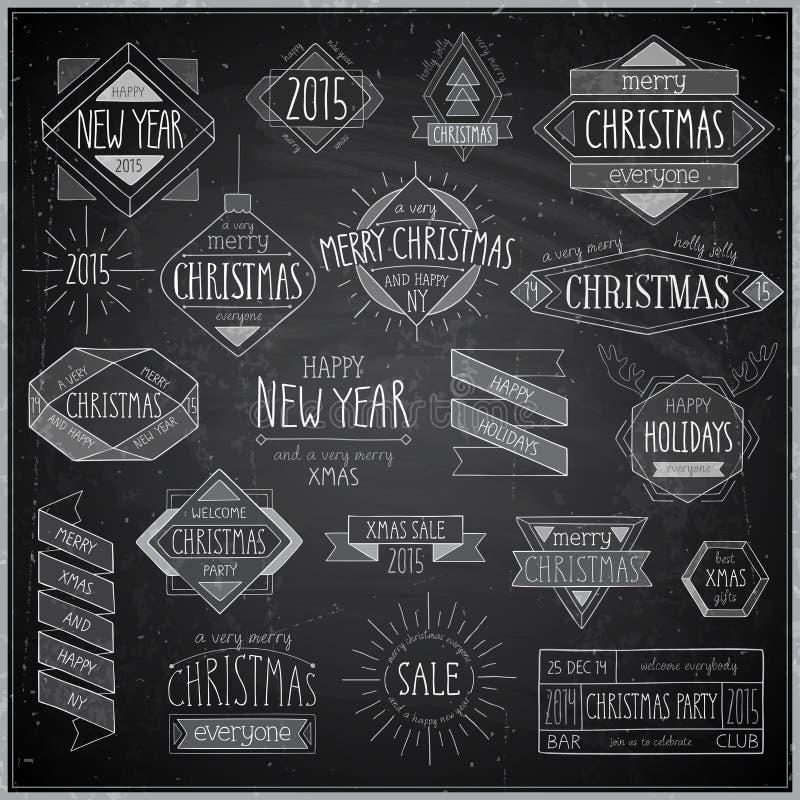 Geplaatste Kerstmishand getrokken emblemen - Bord stock illustratie