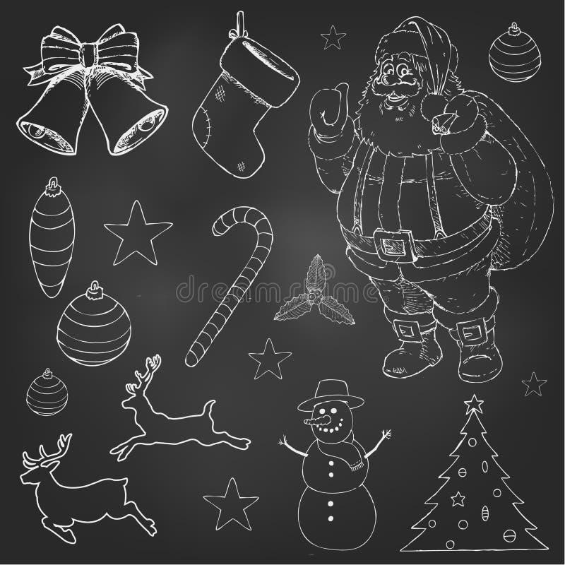 Geplaatste Kerstmiskrabbels stock illustratie