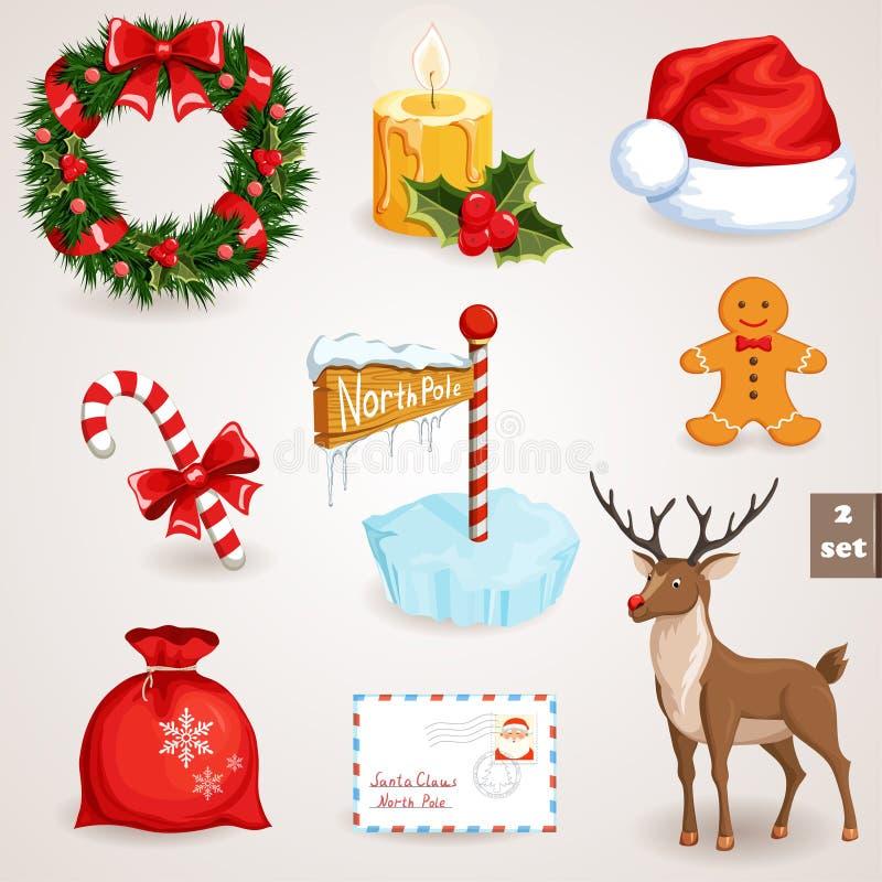Geplaatste Kerstmispictogrammen - 2 royalty-vrije illustratie