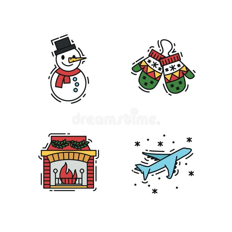Geplaatste Kerstmispictogrammen, de vectoroverzicht en illustraties van de kleurenkleur stock fotografie