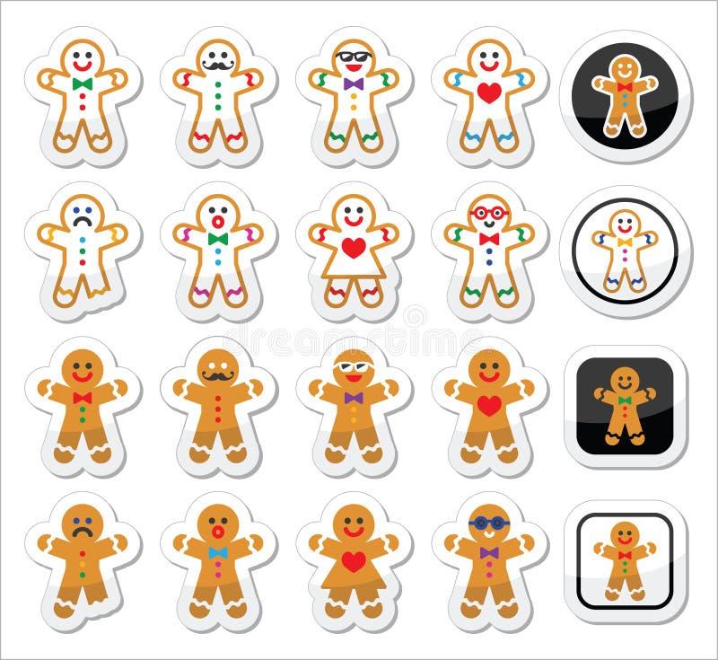 Geplaatste Kerstmispictogrammen van de peperkoekmens royalty-vrije illustratie