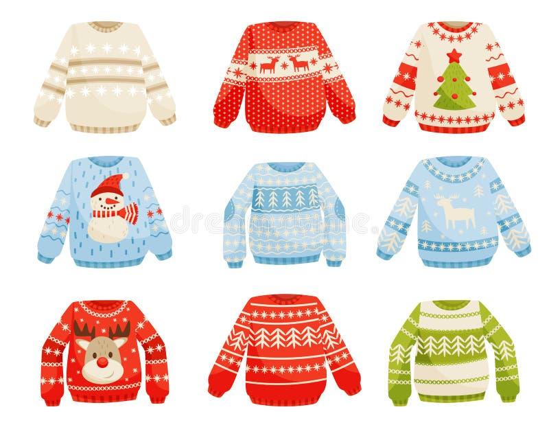 Geplaatste Kerstmissweaters, warme gebreide verbindingsdraad met leuke ornamenten vectorillustratie op een witte achtergrond royalty-vrije illustratie