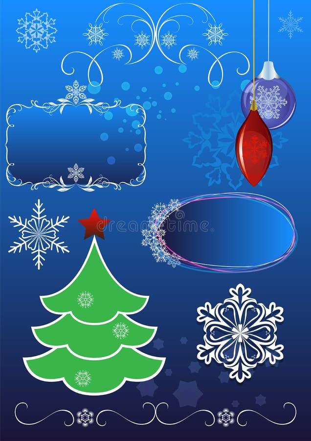 Geplaatste Kerstmissymbolen royalty-vrije illustratie