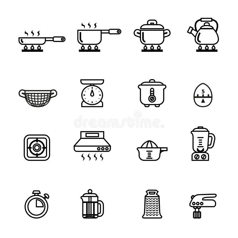 Geplaatste keuken en kokende pictogrammen De voorraad van de lijnstijl stock illustratie