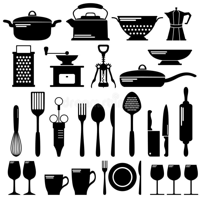 Geplaatste keuken zwarte pictogrammen royalty-vrije illustratie