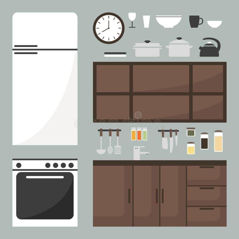 Geplaatste keukenelementen keukenmeubilair en keukengerei vector illustratie