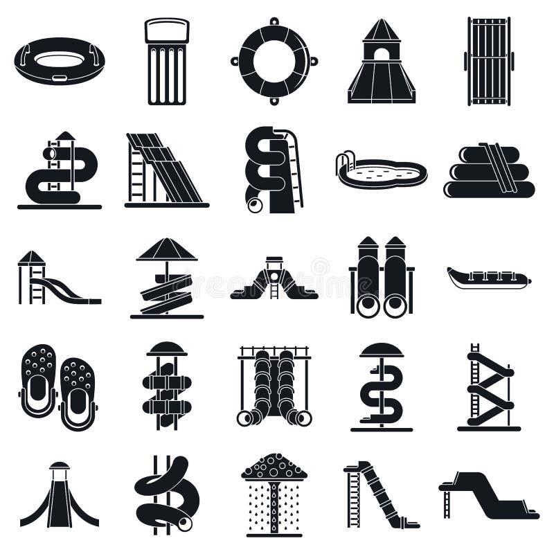 Geplaatste kind aquapark pictogrammen, eenvoudige stijl vector illustratie
