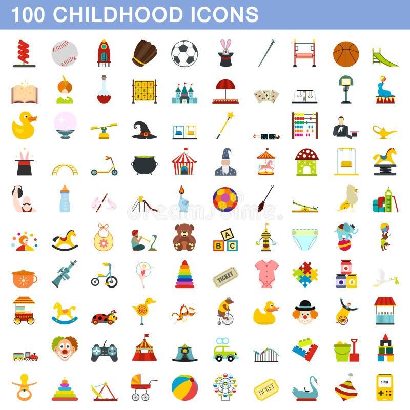 100 geplaatste kinderjarenpictogrammen, vlakke stijl vector illustratie