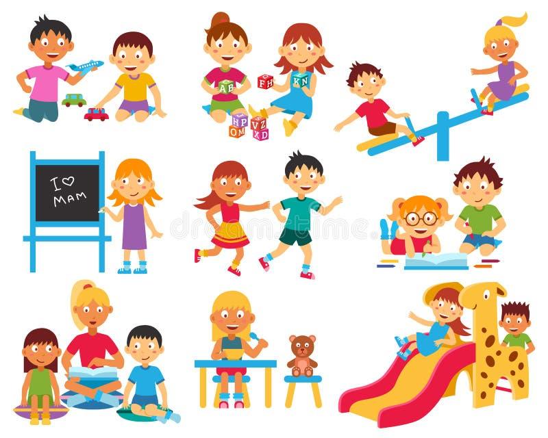 Geplaatste kleuterschoolpictogrammen vector illustratie