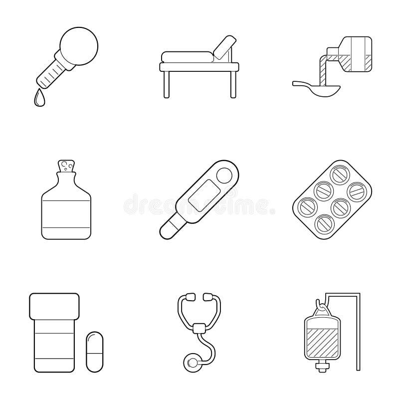 Geplaatste kliniek de pictogrammen, schetsen stijl vector illustratie
