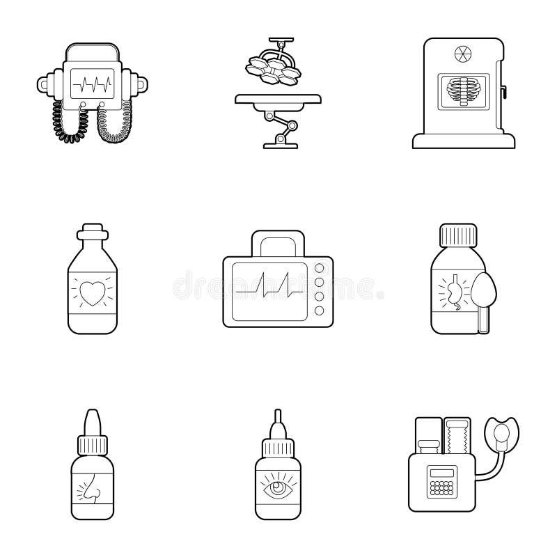 Geplaatste kliniek de pictogrammen, schetsen stijl stock illustratie
