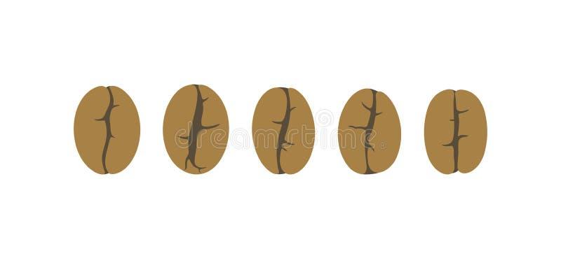 Geplaatste koffiebonen Geïsoleerde coffe bonen op witte achtergrond royalty-vrije illustratie