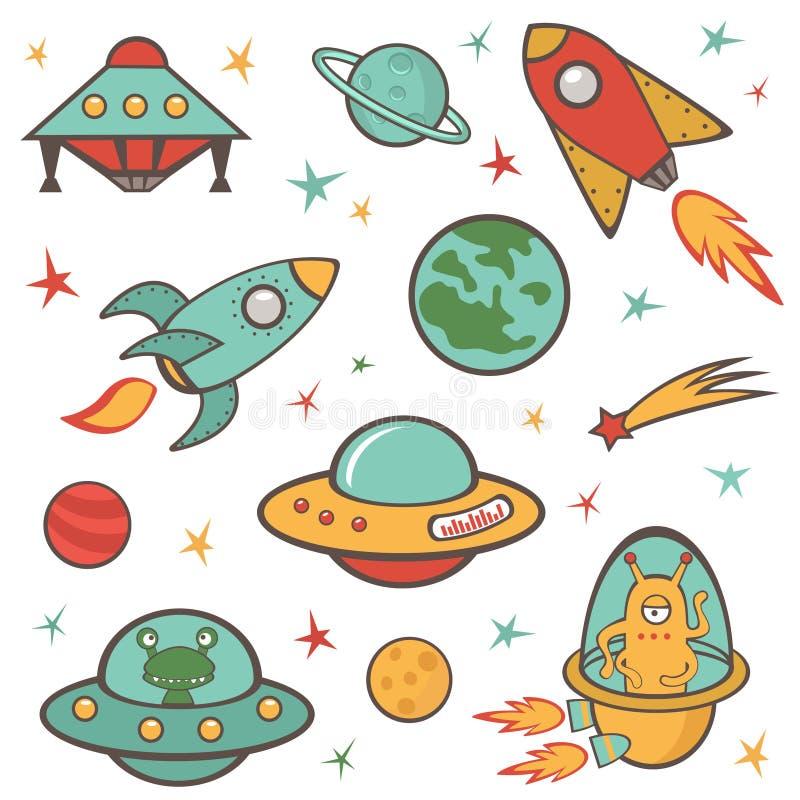 Geplaatste kosmische ruimteelementen vector illustratie