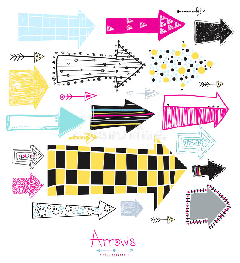 Geplaatste krabbel - pijlen Creatieve grafische achtergrond De inzameling van de schetspijl voor uw ontwerp Hand met inkt wordt g stock illustratie
