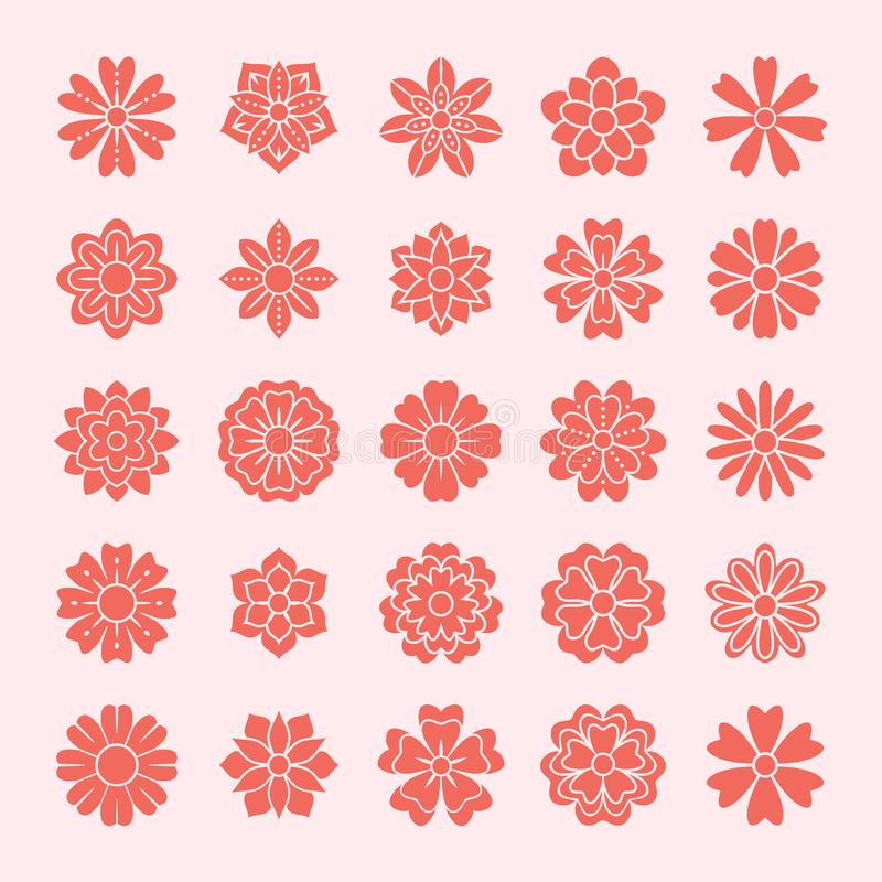 Geplaatste krabbelbloemen, rozerode kleur Mooie bloemenontwerpelementen voor huwelijkskaart Zentangleachtergrond, de zomerbloem stock illustratie