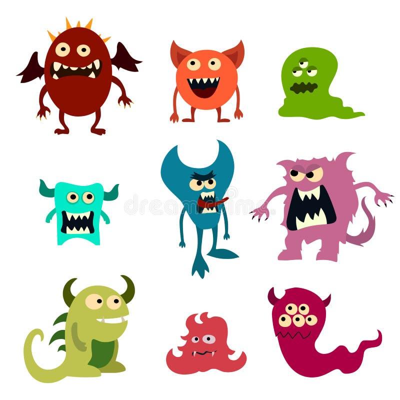 Geplaatste krabbelmonsters Kleurrijk stuk speelgoed leuk vreemd monster Vector stock illustratie