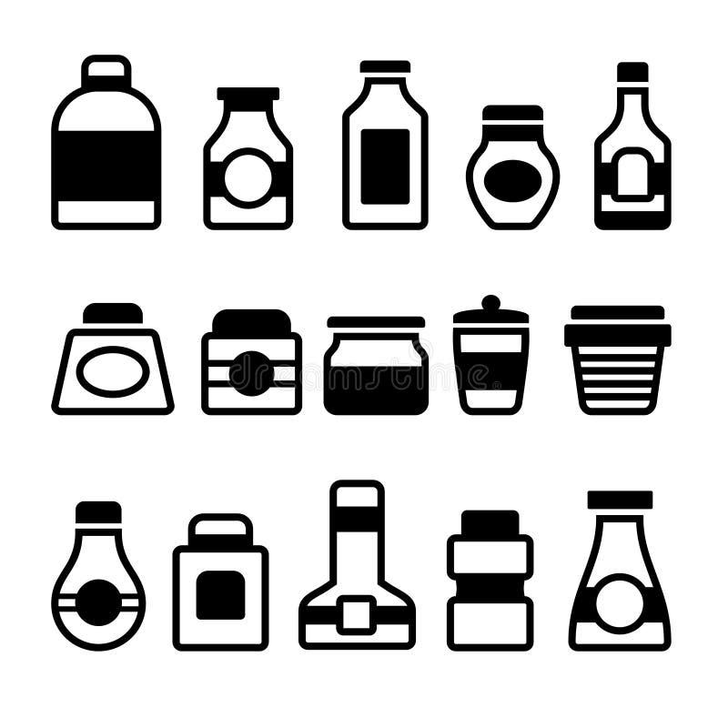 Geplaatste kruikpictogrammen. Zwart Silhouet op Witte Achtergrond. Vector stock illustratie