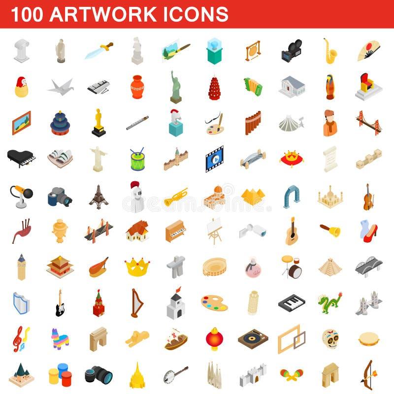100 geplaatste kunstwerkpictogrammen, isometrische 3d stijl vector illustratie
