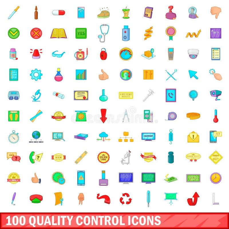 100 geplaatste kwaliteitscontrolepictogrammen, beeldverhaalstijl stock illustratie