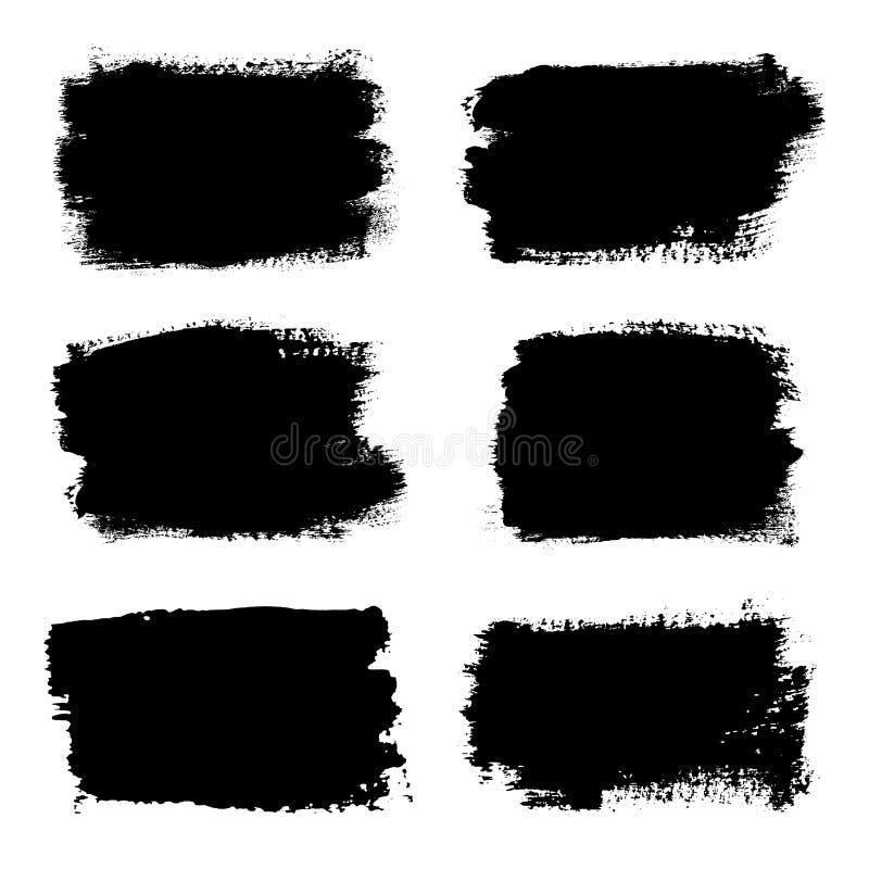 Geplaatste kwaststreken, ge?soleerde witte achtergrond Zwarte Verfborstel De slaglijn van de Grungetextuur Het vuile ontwerp van  stock illustratie