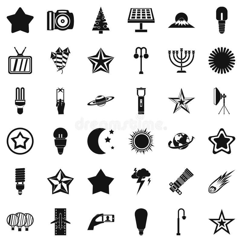 Download Geplaatste Lamppictogrammen, Eenvoudige Stijl Vector Illustratie - Illustratie bestaande uit macht, zwart: 107708420
