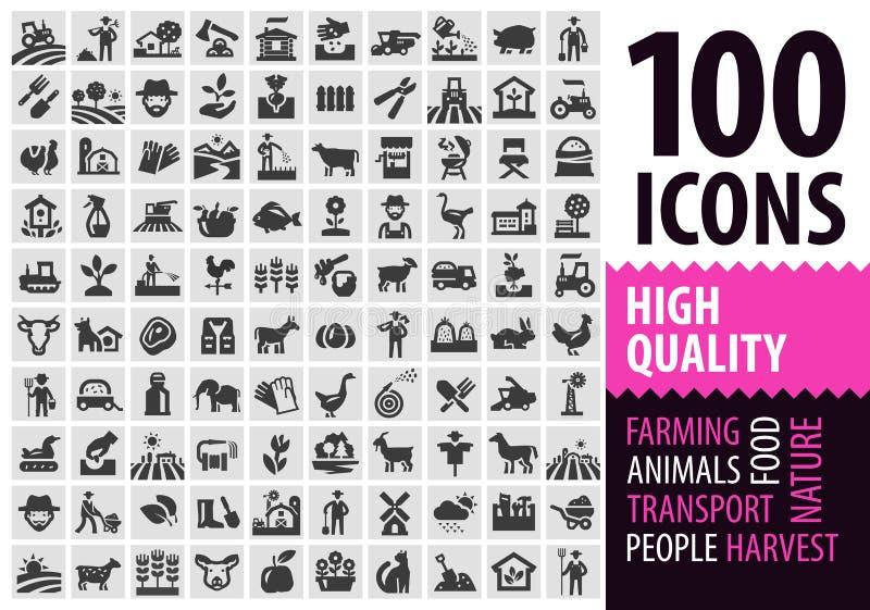 Geplaatste landbouwbedrijf zwarte pictogrammen het tuinieren, tuinbouw of stock illustratie