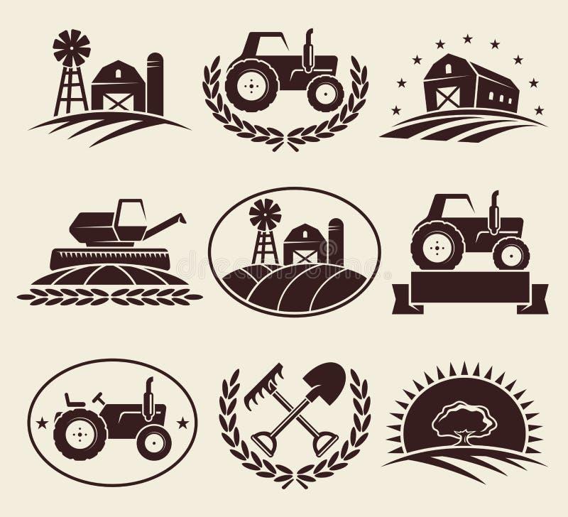 Geplaatste landbouwbedrijfetiketten Vector royalty-vrije illustratie