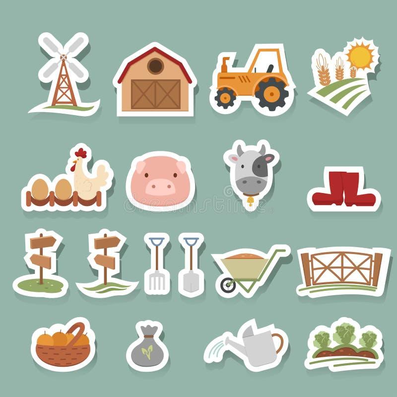Geplaatste landbouwbedrijfpictogrammen vector illustratie